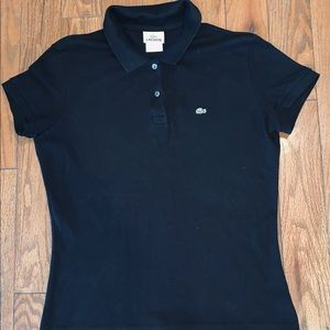 Lacoste Polo Rugby Black Women's Shirt Size Medium